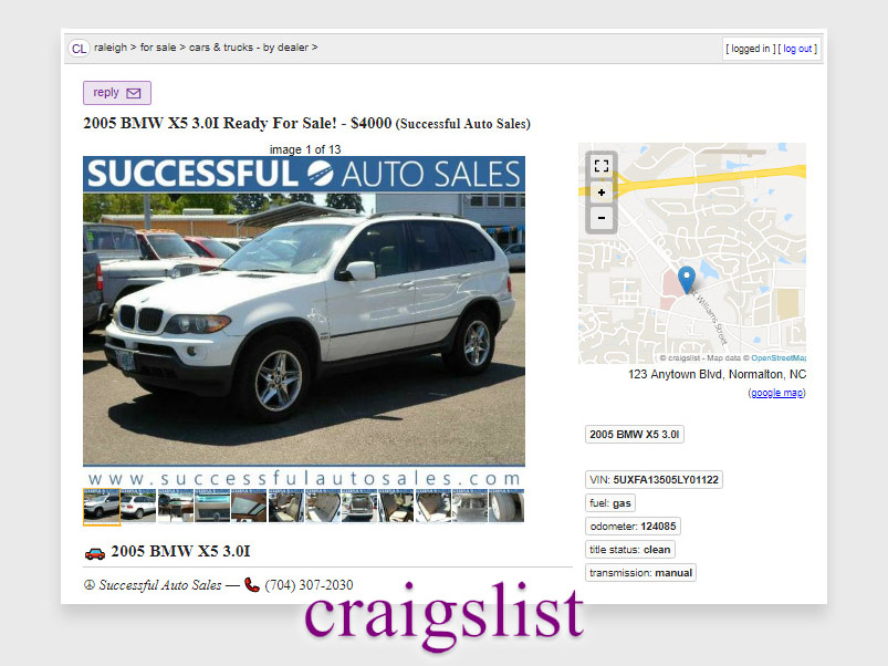 DMS craigslist posting by car dealer